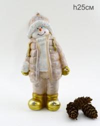 """Фигура """"Снеговик мальчик в куртке со снежком"""" 25см., арт. 4074"""