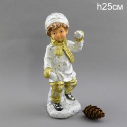 """Фигура """"Мальчик играет в снежки"""" 25см., арт. 4077"""