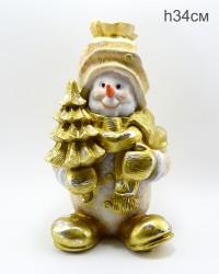 """Фигура """"Снеговик с елкой"""" 34см., арт. 4109"""
