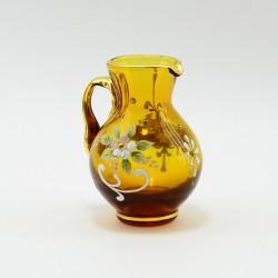 """Кувшинчик из желтого цветного стекла """"Цветы"""" 8,5см, арт. 4140"""