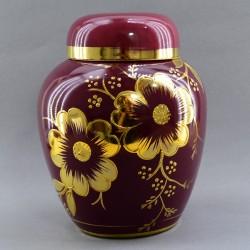 """Чайница """"Бордовая с золотыми цветами"""" h19см., арт. 4169"""