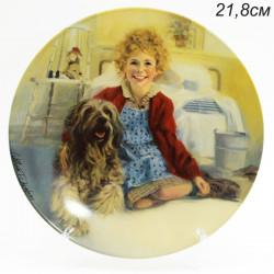 """Тарелка декоративная настенная """"Дети. Девочка с собакой 21,8см, арт. 4170"""