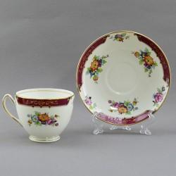 """Чайная пара """"Цветы на бордо"""", арт. 4190"""