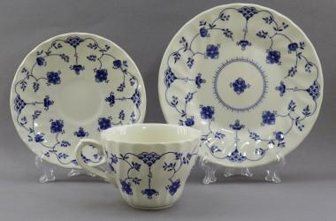 """Чайное трио  """"Кобальтовые цветы на белом"""", арт. 4194"""