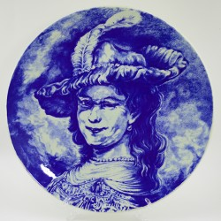 """Тарелка 2шт. """"Портрет. Рембрандт и Девушка в шляпе"""" кобальт 29см., арт. 4215"""