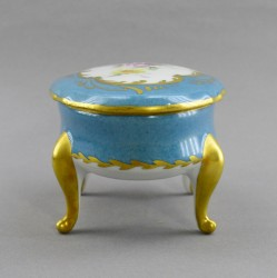"""Шкатулка на ножках овальная """"Цветы"""" голубая, арт. 4229k"""
