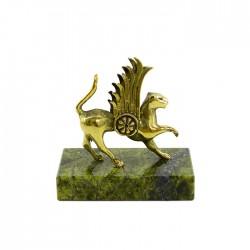 Фигурка Акбарс из бронзы на подставке из змеевика, арт. 4269