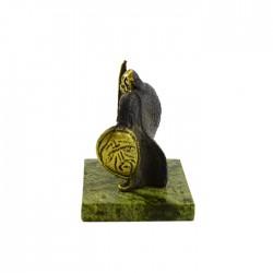 Фигурка Богатырь с мечем из бронзы на подставке из змеевика, арт. 4270