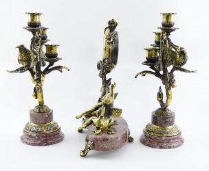 """Каминный набор: Часы + 2 канделябра из бронзы и креноида """"Колибри"""", арт. 4273"""