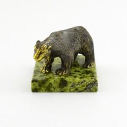 Фигурка Медведь из бронзы на подставке из змеевика, арт. 4280