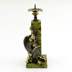"""Подсвечник """"Ландыш"""" змеевик, бронза, арт. 4287"""