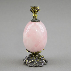 "Подсвечник церковный ""Яйцо"" розовый кварц, бронза, арт. 4288"