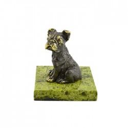 Фигурка Собака из бронзы на подставке из змеевика, арт. 4292