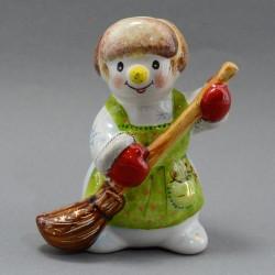 """Фигурка """"Снеговик с метлой"""" майолика, арт. 4472"""