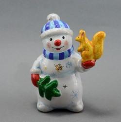 "Фигурка ""Снеговик с белкой"" майолика, арт. 4473"