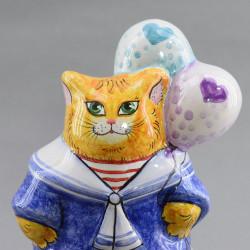 """Фигурка """"Кошечка с шарами"""" майолика, арт. 4476"""