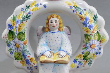 """Фигурка """"Подсвечник - кольцо с ангелом"""" майолика, арт. 4486"""