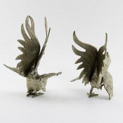 """Фигуры каминные 2шт. """"Петухи"""" серебрение, арт. 4557"""