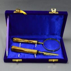 Лупа подарочная + нож для писем в бархатном футляре, арт. 4602