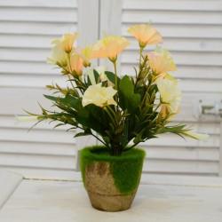 """Цветок искусственный в горшке """"Петунья"""" цвет крем/бел. 26см, арт. 4616"""