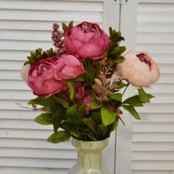 """Цветок искусственный букет """"Пион и гортензия"""" цвет фуксия/крем. 50см, арт. 4621"""