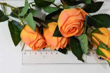 Цветок искусственный букет роза оранжевая, 3 ветки, 65см, арт. 4625