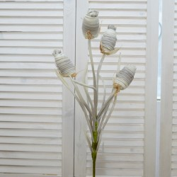 """Цветок искусственный ветка """"Камыш"""" бел./сер.., 100см, арт. 4626"""