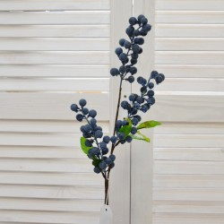 """Цветок искусственный ветка """"Голубика (черника)"""" 63см, арт. 4629"""