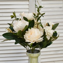 """Цветок искусственный букет """"Пион + гортензия прованс"""" роз.-крем. 50см, арт. 4631"""