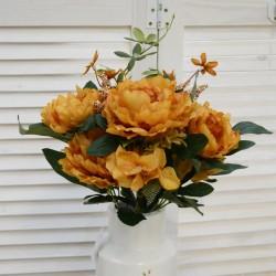 """Цветок искусственный букет """"Пион + гортензия прованс"""" горчичный 50см, арт. 4631"""