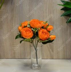 """Цветок искусственный букет """"Пиончики Элантра"""" оранжевый 30см, арт. 4632/5"""