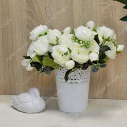"""Цветок искусственный букет """"Пиончики Элантра"""" белый 30см, арт. 4632/3"""