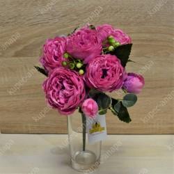 """Цветок искусственный букет """"Пиончики Элантра"""" фуксия 30см, арт. 4632/8"""