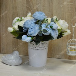"""Цветок искусственный букет """"Пиончики Элантра"""" голубой 30см, арт. 4632/6"""