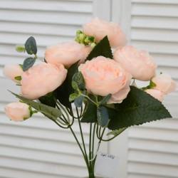 """Цветок искусственный букет """"Пиончики Элантра"""" цвет крем/роз. 30см, арт. 4632"""
