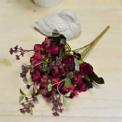 """Цветок искусственный букет """"Пиончики Пунто"""" винный 34см, арт. 4633"""