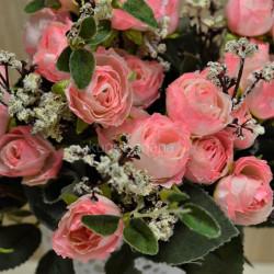 """Цветок искусственный букет """"Пиончики Пунто"""" ярко розовый 34см, арт. 4633"""
