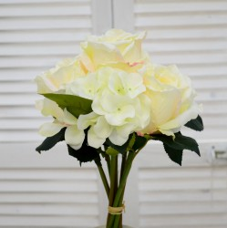 """Цветок искусственный букет свадебный срез """"Роза + гортензия"""" бел./крем., арт. 4639"""