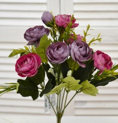 "Цветок искусственный букет ""Камелия"" бордо/фуксия. 30см, арт. 4641"