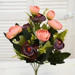 """Цветок искусственный букет """"Камелия"""" бордо/роз. 30см, арт. 4641"""