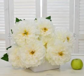 """Цветок искусственный букет """"Пион Крит"""" белый 50см., арт. 4642"""