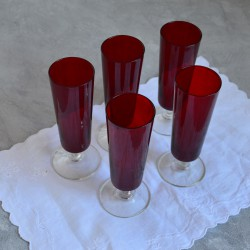 Набор бокалов под шампанское 5шт. красное цветное стекло, арт. 4649