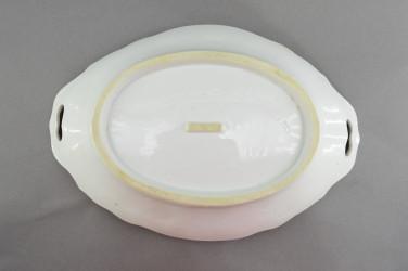 """Антикварная тарелка - блюдо с ручками """"Розовый и гобой"""" 31*20,5*6см., арт. 4839"""