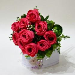 """Цветок искусственный букет роза """"Изис"""" малиновый. 33см, арт. 4900"""