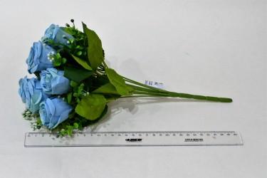 """Цветок искусственный букет роза """"Изис"""" голубой. 33см, арт. 4900"""