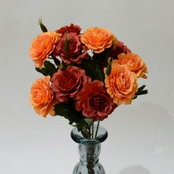 """Цветок искусственный букет """"Дубки"""" оранжевый/красный. 33см, арт. 4904"""