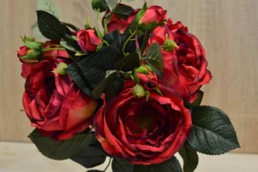 """Цветок искусственный букет срез """"Пионовидная роза"""" красно-бордовая. 38см, арт. 4907"""
