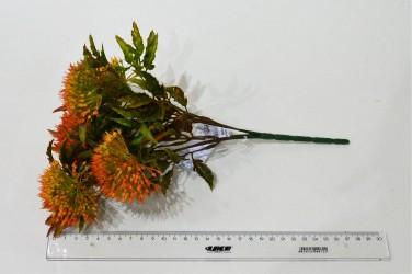 """Цветок искусственный куст зелень """"Дикий лук"""" оранжевый 32см, арт. 4910"""