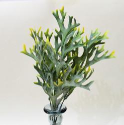 """Цветок искусственный куст зелень """"Оленьи рожки"""" желтый 36см, арт. 4914"""
