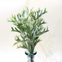 """Цветок искусственный куст зелень """"Оленьи рожки"""" белый 36см, арт. 4914"""